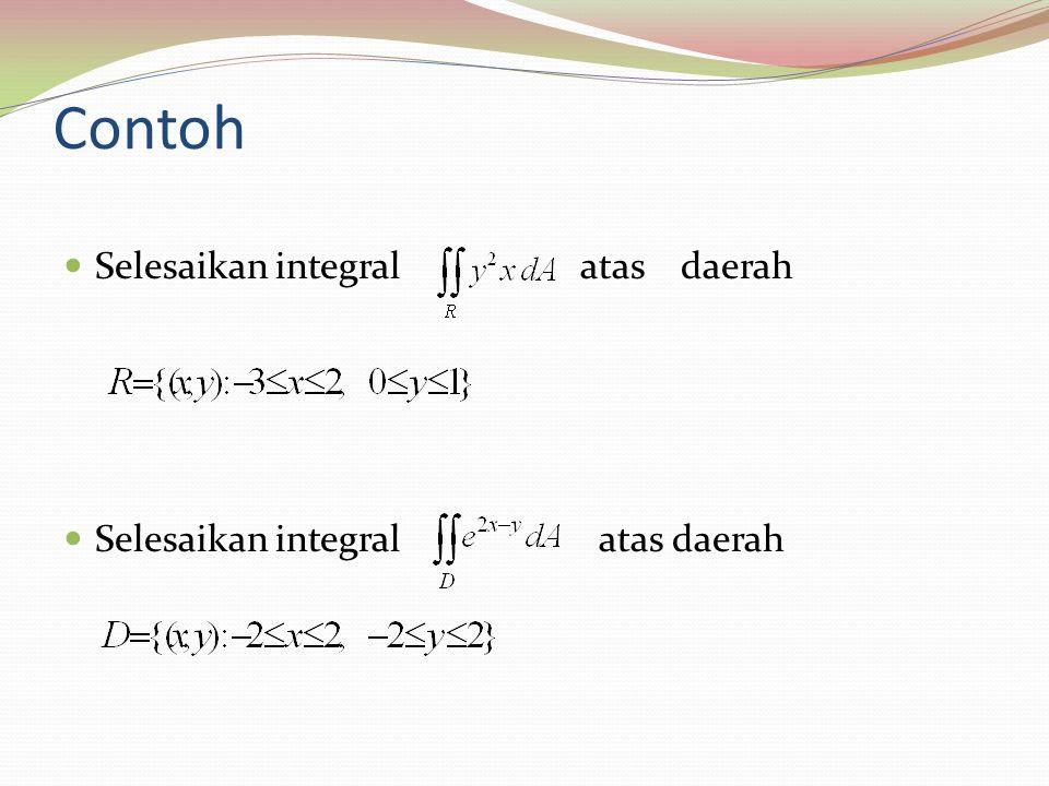 Integral Lipat Untuk Daerah Bukan Persegi Panjang Theorema 1.Jika R adalah daerah tipe I (gambar (i)) dimana f(x,y) kontinu, maka 2.Jika R adalah daerah tipe II (gambar (i))dimana f(x,y) kontinu, maka