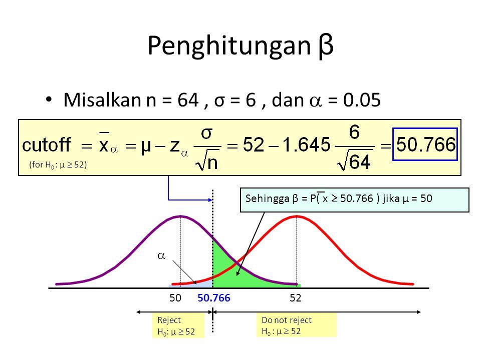 Reject H 0 : μ  52 Do not reject H 0 : μ  52 Misalkan n = 64, σ = 6, dan  = 0.05  5250 Sehingga β = P( x  50.766 ) jika μ = 50 Penghitungan β (fo