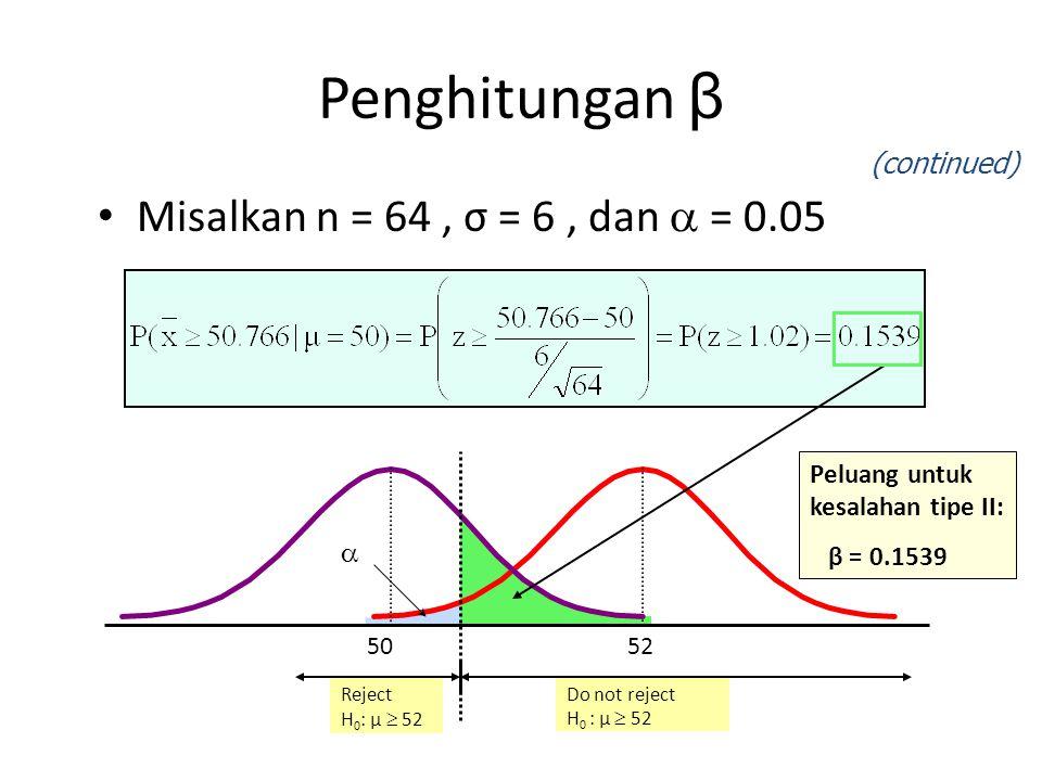 Reject H 0 : μ  52 Do not reject H 0 : μ  52 Misalkan n = 64, σ = 6, dan  = 0.05  5250 Penghitungan β (continued) Peluang untuk kesalahan tipe II: