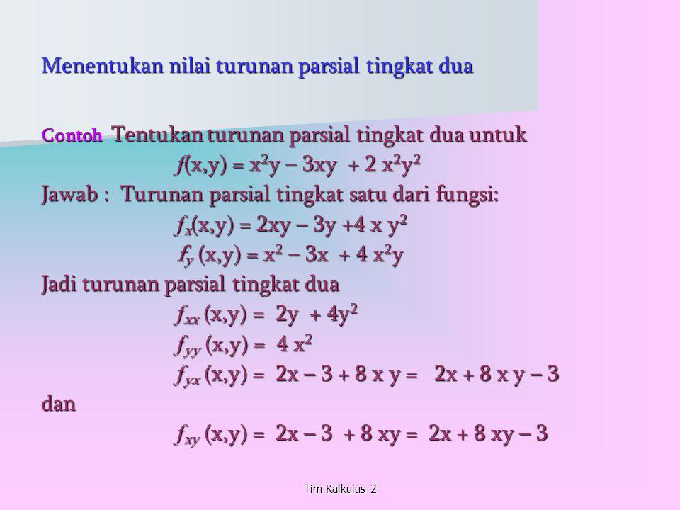 Menentukan nilai turunan parsial tingkat dua Contoh Tentukan turunan parsial tingkat dua untuk f (x,y) = x 2 y – 3xy + 2 x 2 y 2 Jawab : Turunan parsi