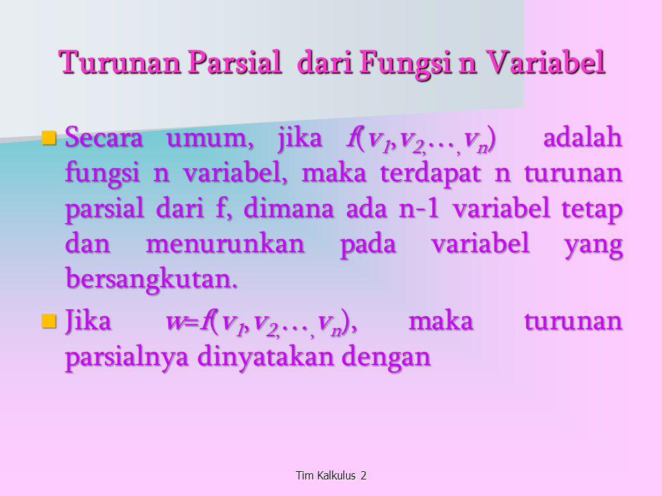 Turunan Parsial dari Fungsi n Variabel Secara umum, jika f(v 1,v 2, …, v n ) adalah fungsi n variabel, maka terdapat n turunan parsial dari f, dimana