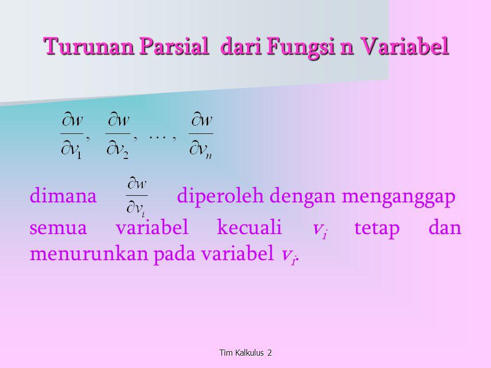 Turunan Parsial dari Fungsi n Variabel dimana diperoleh dengan menganggap semua variabel kecuali v i tetap dan menurunkan pada variabel v i. Tim Kalku