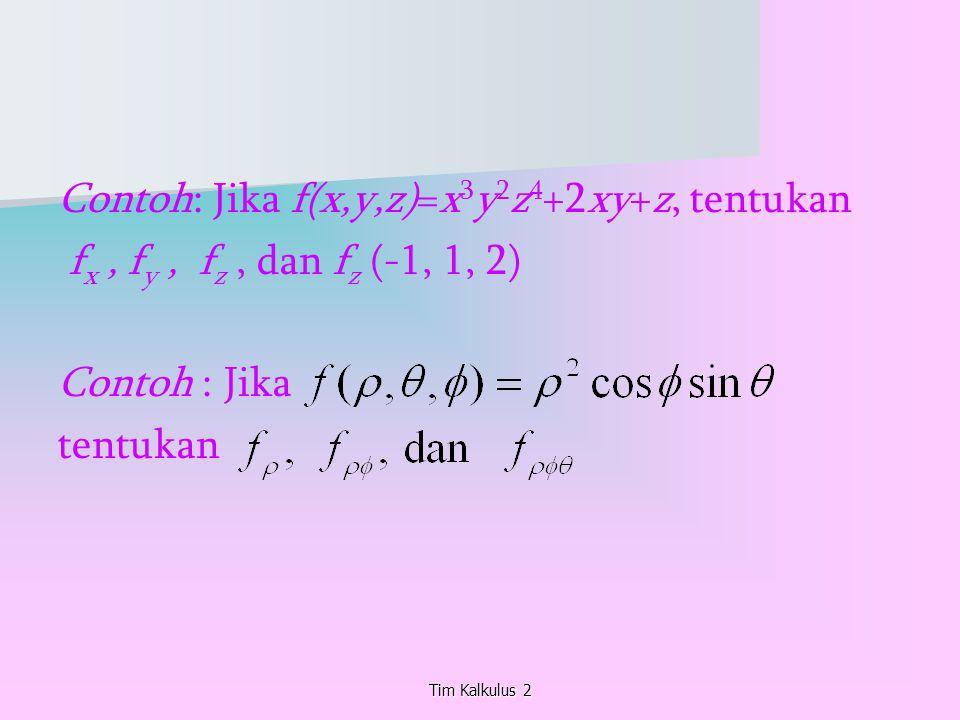 Contoh: Jika f(x,y,z)=x 3 y 2 z 4 +2xy+z, tentukan f x, f y, f z, dan f z (-1, 1, 2) Contoh : Jika tentukan Tim Kalkulus 2