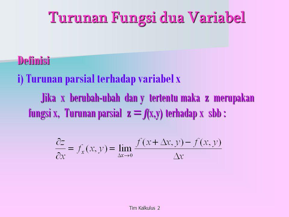 Tim Kalkulus 2 Turunan Fungsi dua Variabel Turunan Fungsi dua Variabel Definisi i) Turunan parsial terhadap variabel x Jika x berubah-ubah dan y terte