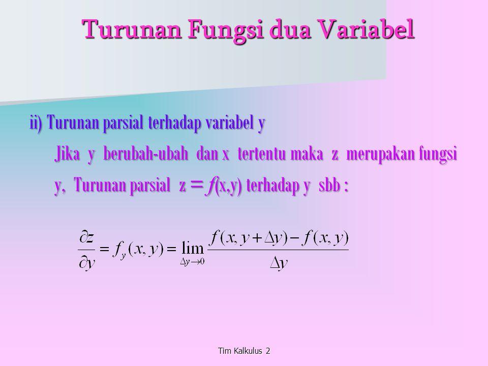 Tim Kalkulus 2 Turunan Fungsi dua Variabel Turunan Fungsi dua Variabel ii) Turunan parsial terhadap variabel y Jika y berubah-ubah dan x tertentu maka