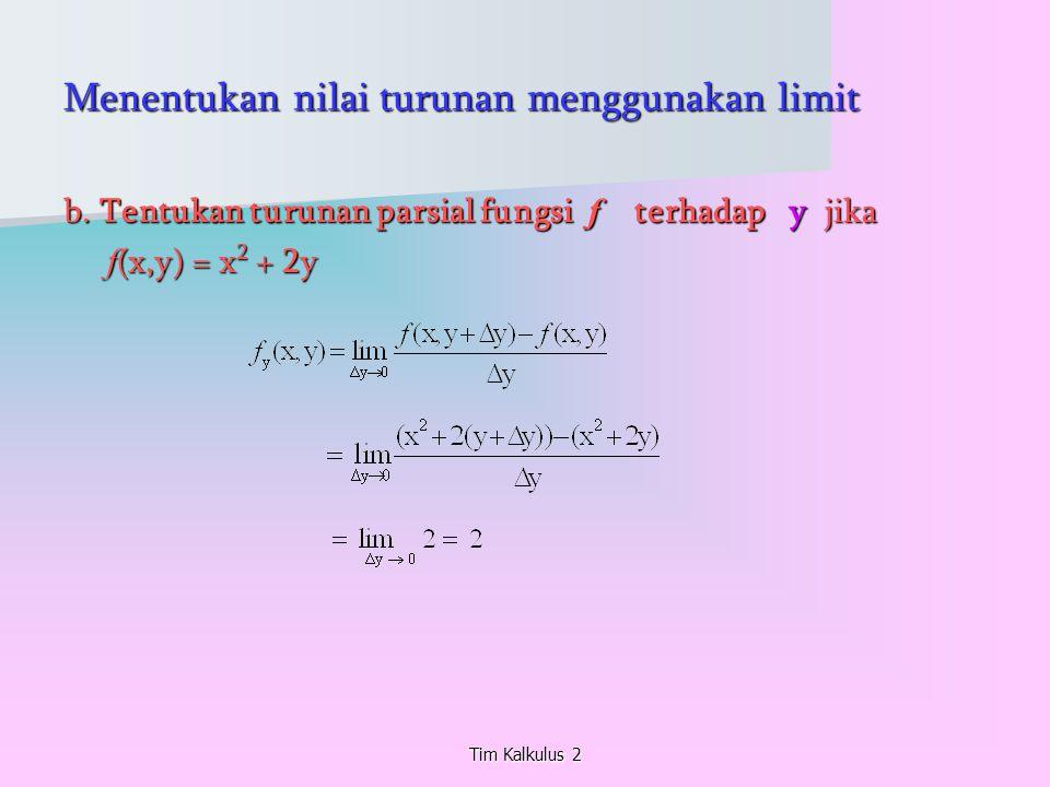 Menentukan nilai turunan menggunakan limit b. Tentukan turunan parsial fungsi f terhadap y jika f (x,y) = x 2 + 2y f (x,y) = x 2 + 2y