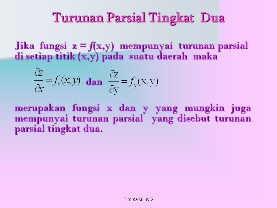 Tim Kalkulus 2 Turunan Parsial Tingkat Dua Jika fungsi z = f(x,y) mempunyai turunan parsial di setiap titik (x,y) pada suatu daerah maka dan dan merup