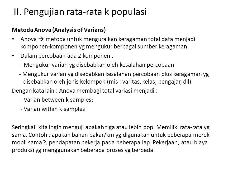 II. Pengujian rata-rata k populasi Metoda Anova (Analysis of Varians) Anova  metoda untuk menguraikan keragaman total data menjadi komponen-komponen