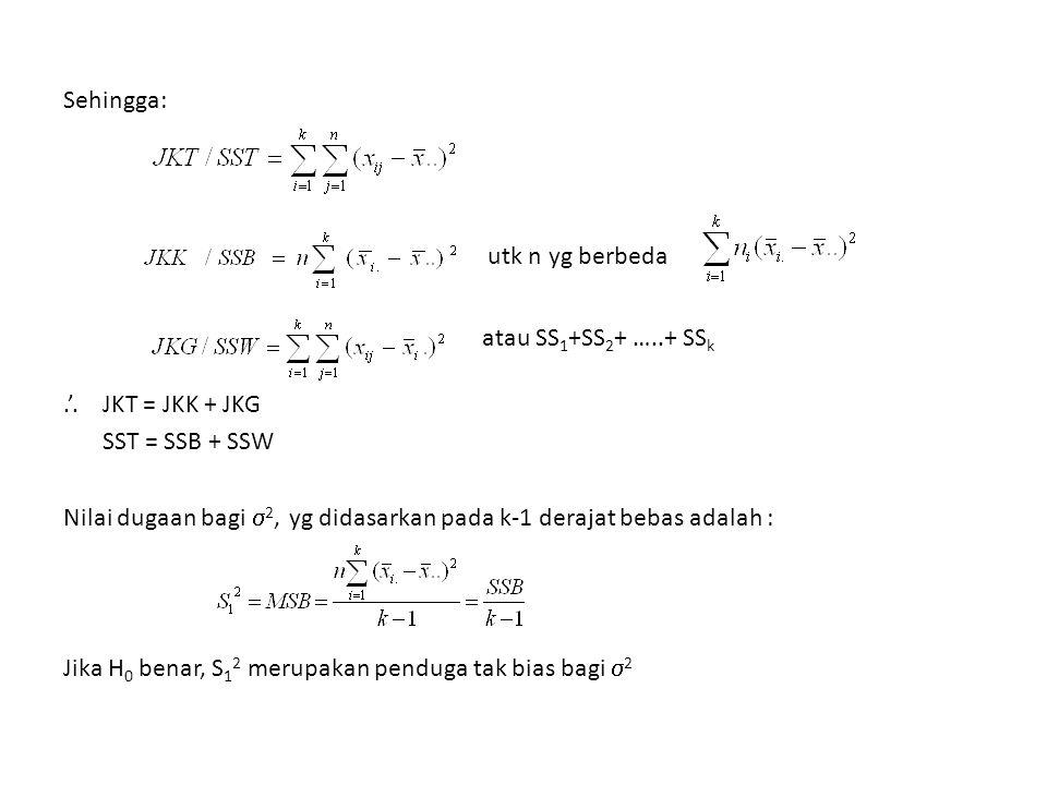 Contoh : Diket: Sx¯ = 0,142 x⁻ 1 = 2,460x⁻ 2 = 2,458x¯ 3 = 3,645 Ho : µ i = µ j i ≠ j H 1 : µ i ≠ µ j q α (k,f) = q 0,05 (3,12) = 3,77 T 0.05 = (3,77) (0,142) = 0,535 x⁻ 2 = 2,458 x⁻ 1 = 2,460 x¯ 3 = 3,645 = ǀ2,460 – 2,458ǀ = 0,002 0,002 < 0,535 → Ho tdk ditolak = 1,185 → 1,1185 > 0,535 → Ho ditolak