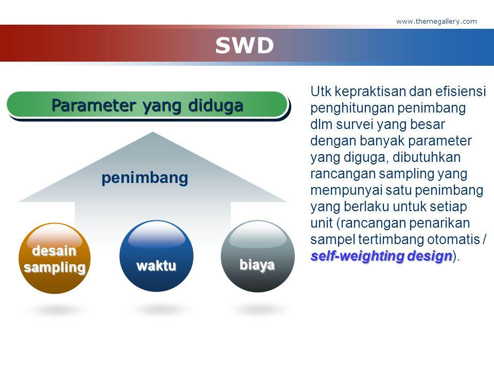 www.themegallery.com  Dalam rancangan penarikan sampel tertimbang otomatis (self-weighting design/swd), persamaan (1) dapat disederhanakan menjadi: dengan: w= penimbang yang berlaku untuk setiap unit sampling.