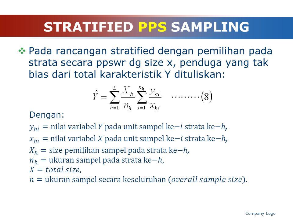 STRATIFIED PPS SAMPLING rasioswd Penduga total...(11) …(10) …(9)