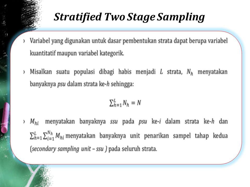 Stratified Two Stage Sampling (PPS-SRS) ›Skema Sampling TahapUnitPopulasiSampelMetodePeluang Fraksi sampling 1psuPPS WR 2ssuSRS WR
