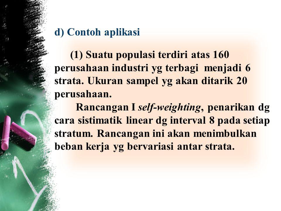 d) Contoh aplikasi (1) Suatu populasi terdiri atas 160 perusahaan industri yg terbagi menjadi 6 strata. Ukuran sampel yg akan ditarik 20 perusahaan. R