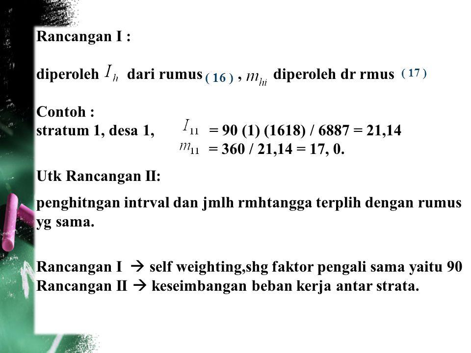 41 Rancangan I : diperoleh dari rumus, diperoleh dr rmus Contoh : stratum 1, desa 1, = 90 (1) (1618) / 6887 = 21,14 = 360 / 21,14 = 17, 0. Utk Rancang