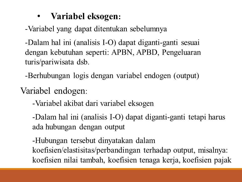  Persamaam dampak APBN (pengeluaran pemerintah) X = (I-A d ) -1 APBN, dengan, APBN = Matriks APBN menurut sektor I-O disebut juga persamaan dampak APBN (pengeluaran pemerintah) terhadap penciptaan output  Apabila X (output) dikembangkan menjadi nilai tambah (V), tenaga kerja (L) dan pajak (T): -Harus dicari/dihitung koefisien nilai tambah, tenaga kerja dan pajak terhadap output (X) -Koefisien tersebut:  Koefisien nilai tambah, v = V/X  V = vX  Koefisien tenaga kerja, l = L/X  L = lX  Koefisien pajak, t = T/X  T = tX