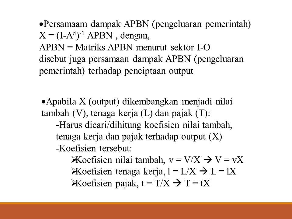  Sehinggga persamaan dampak APBN (pengeluaran pemerintah) menjadi :  V = v(I-A d ) -1 APBN  Dampak APBN terhadap penciptaan nilai tambah  L = l(I-A d ) -1 APBN  Dampak APBN terhadap penciptaan tenaga kerja  T = t(I-A d ) -1 APBN  Dampak APBN terhadap penciptaan pajak  Dengan v, l, t = Matriks diagonal koefisien nilai tambah, tenaga kerja dan pajak