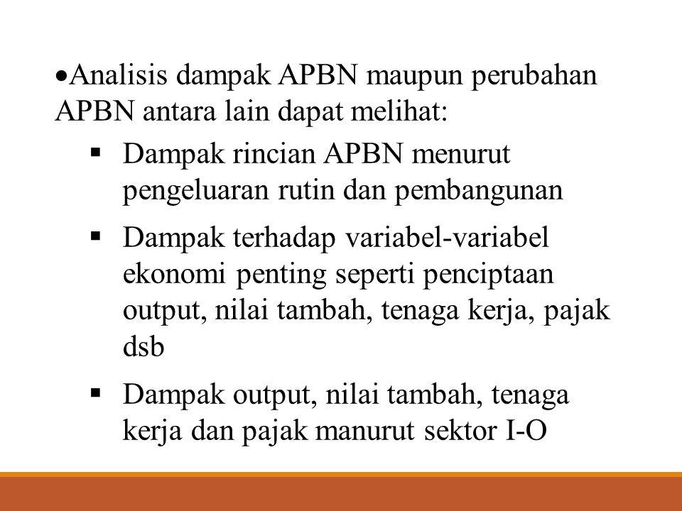  Analisis dampak APBN maupun perubahan APBN antara lain dapat melihat:  Dampak rincian APBN menurut pengeluaran rutin dan pembangunan  Dampak terha