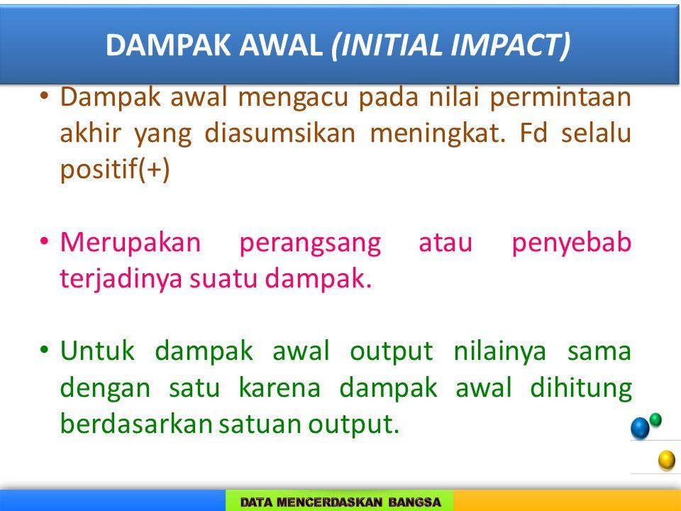 DAMPAK AWAL (INITIAL IMPACT) Dampak awal mengacu pada nilai permintaan akhir yang diasumsikan meningkat.