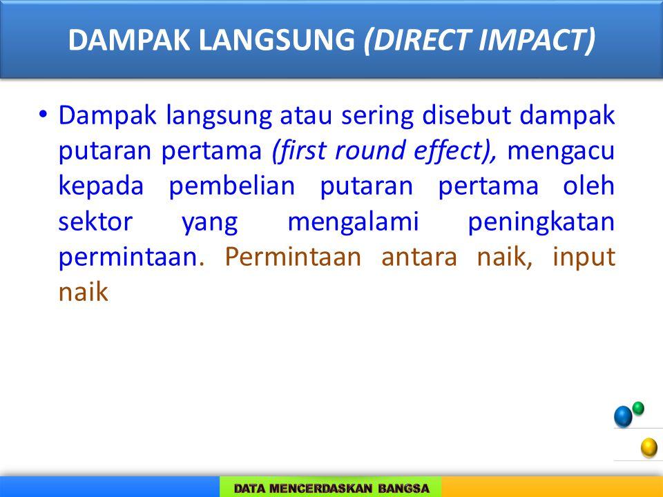 DAMPAK LANGSUNG (DIRECT IMPACT) Dampak langsung atau sering disebut dampak putaran pertama (first round effect), mengacu kepada pembelian putaran pertama oleh sektor yang mengalami peningkatan permintaan.