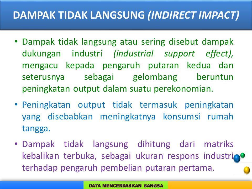 DAMPAK TIDAK LANGSUNG (INDIRECT IMPACT) Dampak tidak langsung atau sering disebut dampak dukungan industri (industrial support effect), mengacu kepada
