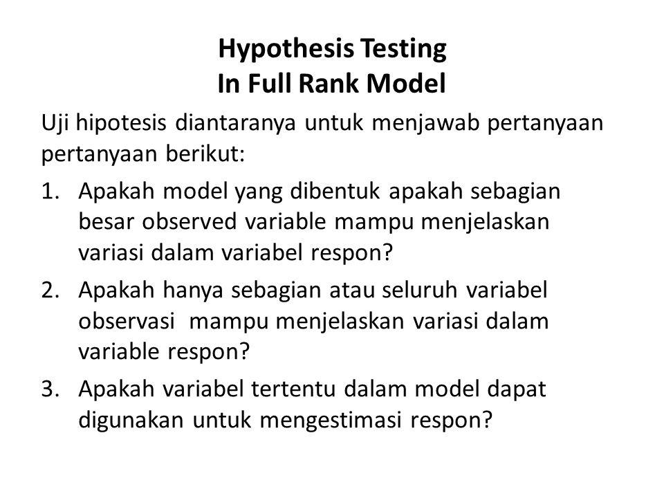 Hypothesis Testing In Full Rank Model Uji hipotesis diantaranya untuk menjawab pertanyaan pertanyaan berikut: 1.Apakah model yang dibentuk apakah seba