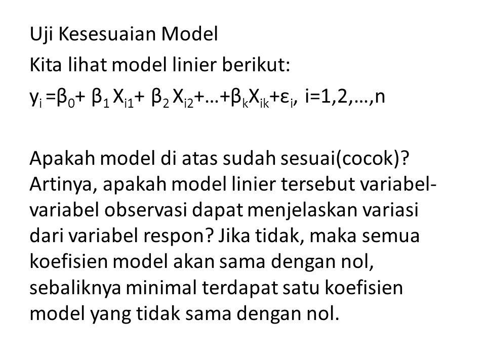 Uji Kesesuaian Model Kita lihat model linier berikut: y i =β 0 + β 1 X i1 + β 2 X i2 +…+β k X ik +ε i, i=1,2,…,n Apakah model di atas sudah sesuai(coc