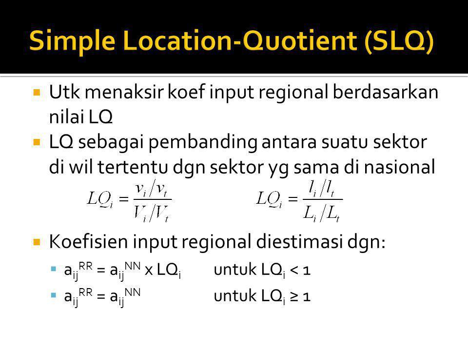  Utk menaksir koef input regional berdasarkan nilai LQ  LQ sebagai pembanding antara suatu sektor di wil tertentu dgn sektor yg sama di nasional  Koefisien input regional diestimasi dgn:  a ij RR = a ij NN x LQ i untuk LQ i < 1  a ij RR = a ij NN untuk LQ i ≥ 1