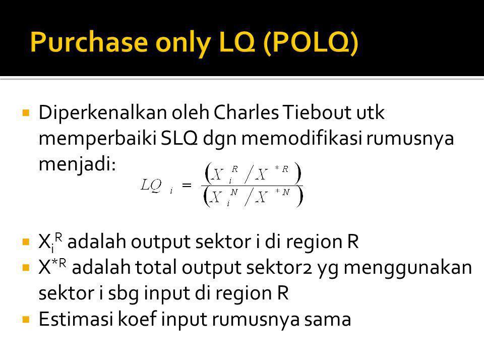  Diperkenalkan oleh Charles Tiebout utk memperbaiki SLQ dgn memodifikasi rumusnya menjadi:  X i R adalah output sektor i di region R  X *R adalah total output sektor2 yg menggunakan sektor i sbg input di region R  Estimasi koef input rumusnya sama