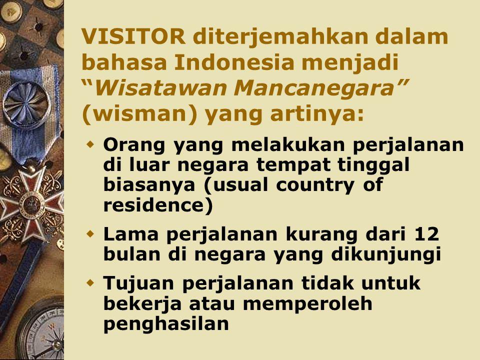 """VISITOR diterjemahkan dalam bahasa Indonesia menjadi """"Wisatawan Mancanegara"""" (wisman) yang artinya:  Orang yang melakukan perjalanan di luar negara t"""
