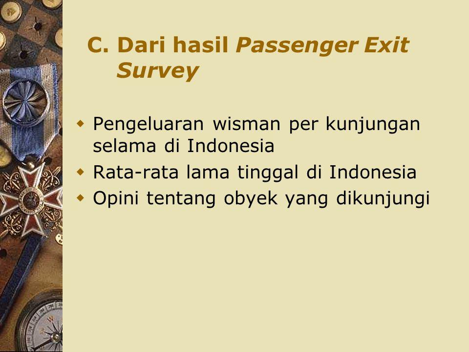 C. Dari hasil Passenger Exit Survey  Pengeluaran wisman per kunjungan selama di Indonesia  Rata-rata lama tinggal di Indonesia  Opini tentang obyek
