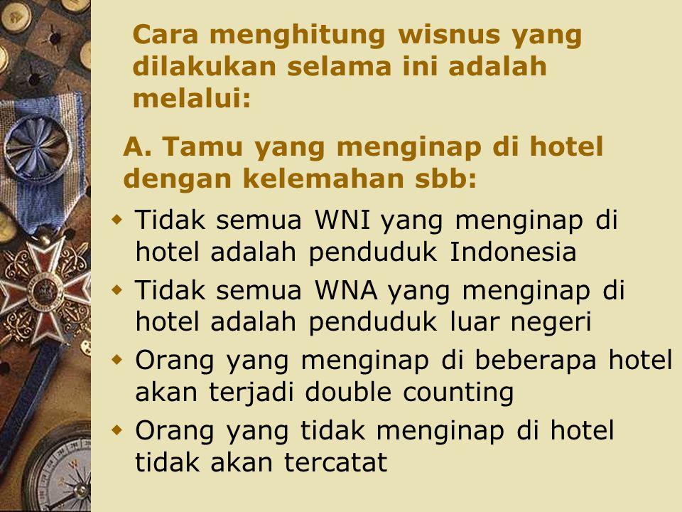 Cara menghitung wisnus yang dilakukan selama ini adalah melalui:  Tidak semua WNI yang menginap di hotel adalah penduduk Indonesia  Tidak semua WNA
