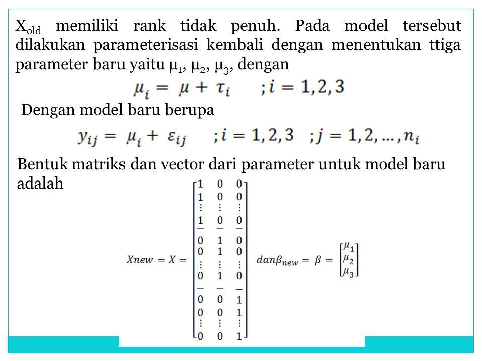 X old memiliki rank tidak penuh. Pada model tersebut dilakukan parameterisasi kembali dengan menentukan ttiga parameter baru yaitu µ 1, µ 2, µ 3, deng