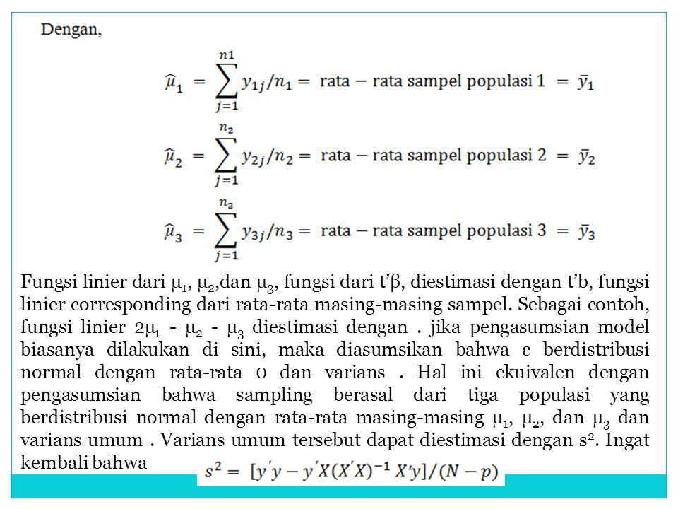 Fungsi linier dari µ 1, µ 2,dan µ 3, fungsi dari t'β, diestimasi dengan t'b, fungsi linier corresponding dari rata-rata masing-masing sampel. Sebagai