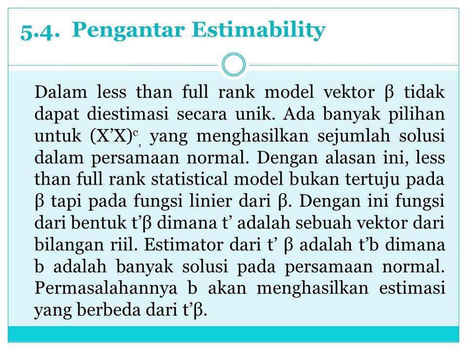 5.4. Pengantar Estimability Dalam less than full rank model vektor β tidak dapat diestimasi secara unik. Ada banyak pilihan untuk (X'X) c, yang mengha