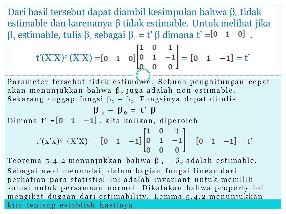 Parameter tersebut tidak estimable. Sebuah penghitungan cepat akan menunjukkan bahwa β 2 juga adalah non estimable. Sekarang anggap fungsi β 1 – β 2.
