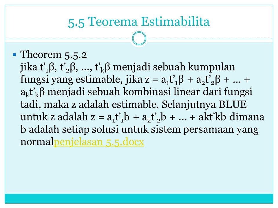 5.5 Teorema Estimabilita Theorem 5.5.2 jikat' 1 β, t' 2 β,..., t' k β menjadi sebuah kumpulan fungsi yang estimable, jika z = a 1 t' 1 β + a 2 t' 2 β