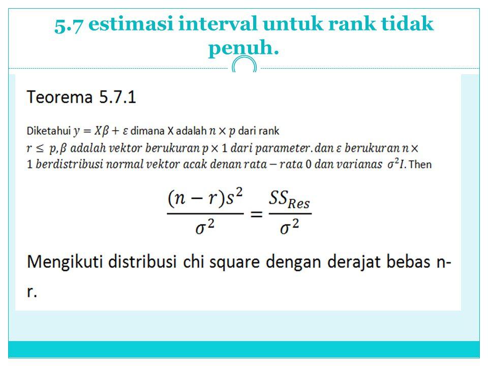 5.7 estimasi interval untuk rank tidak penuh.