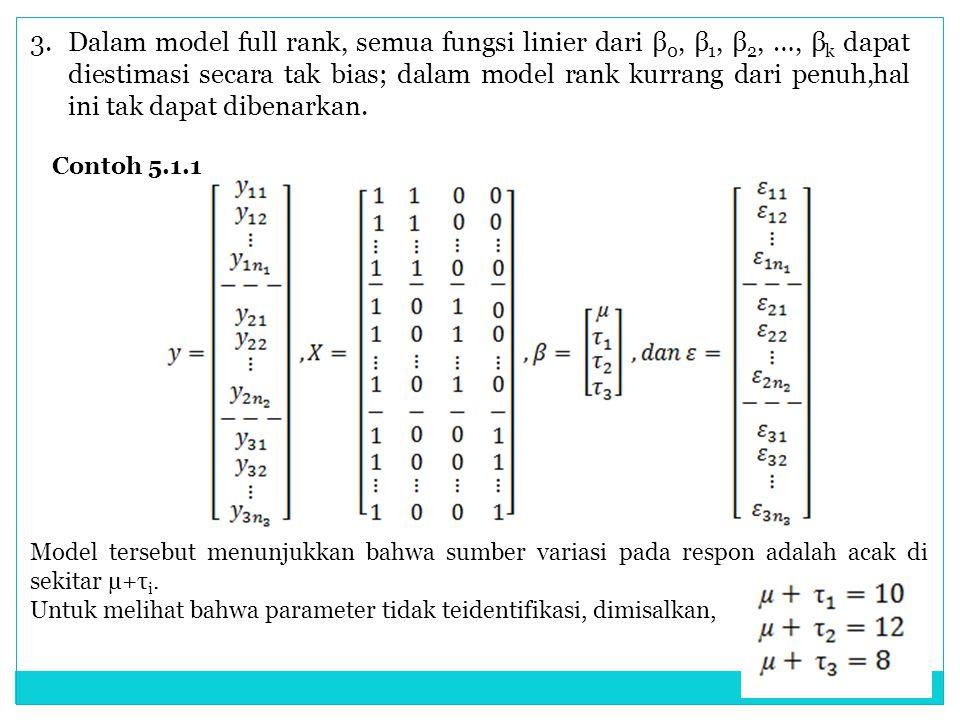 3.Dalam model full rank, semua fungsi linier dari β 0, β 1, β 2, …, β k dapat diestimasi secara tak bias; dalam model rank kurrang dari penuh,hal ini
