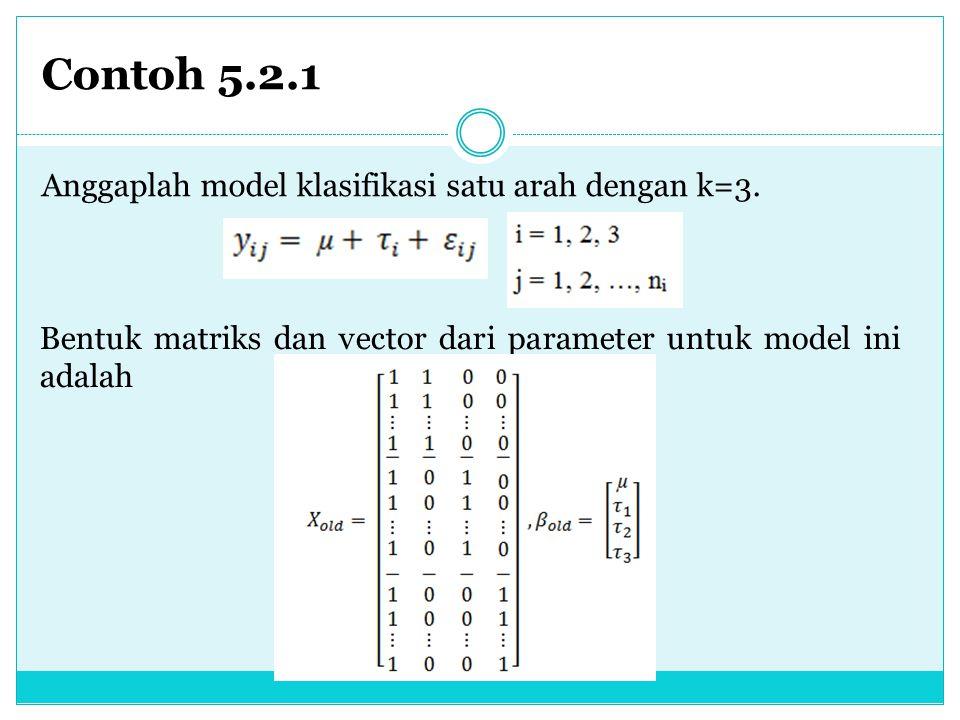 Contoh 5.2.1 Anggaplah model klasifikasi satu arah dengan k=3. Bentuk matriks dan vector dari parameter untuk model ini adalah