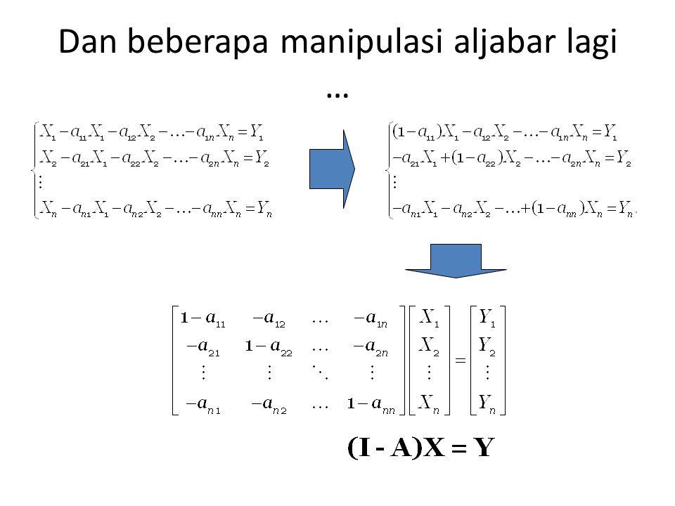 Dengan beberapa manipulasi aljabar … Dengan menyatakan bahwa z ij = a ij. X j maka sistem persamaan kita yang terdahulu dapat dituliskan ulang dalam b