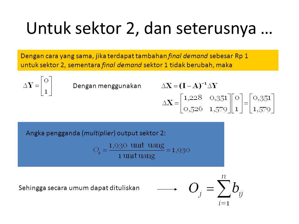 Dari contoh kasus hipotetis terdahulu Katakan terdapat tambahan final demand sebesar Rp 1 untuk sektor 1 sementara final demand sektor 2 tidak berubah.
