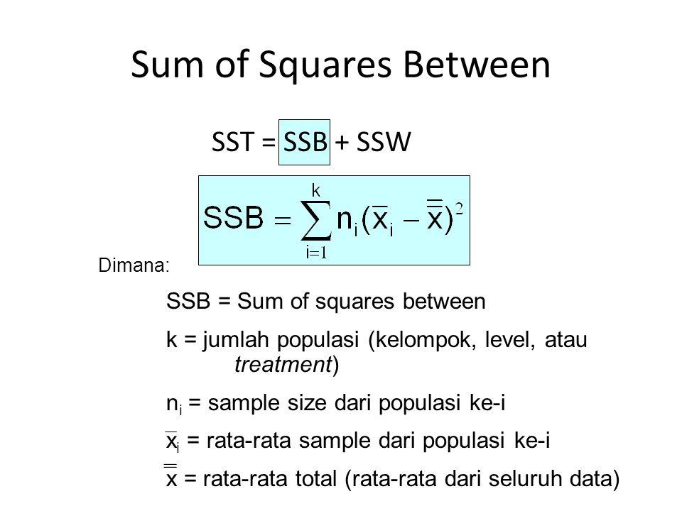 Sum of Squares Between Dimana: SSB = Sum of squares between k = jumlah populasi (kelompok, level, atau treatment) n i = sample size dari populasi ke-i