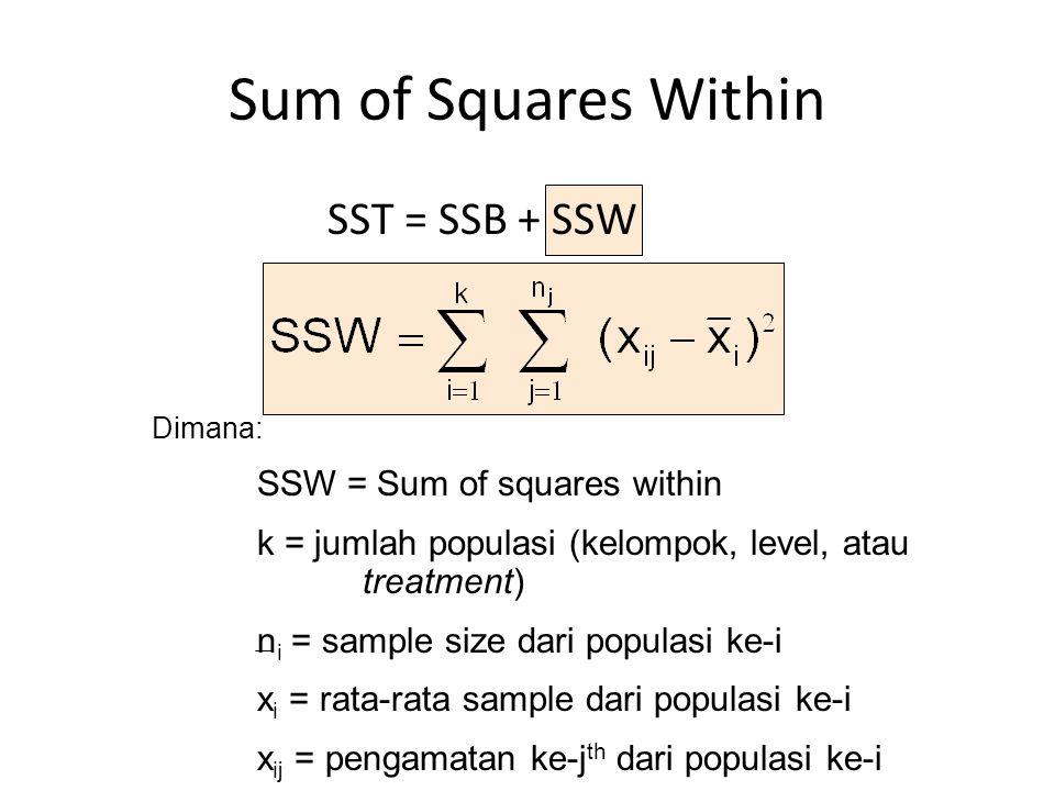 Sum of Squares Within Dimana: SSW = Sum of squares within k = jumlah populasi (kelompok, level, atau treatment) n i = sample size dari populasi ke-i x