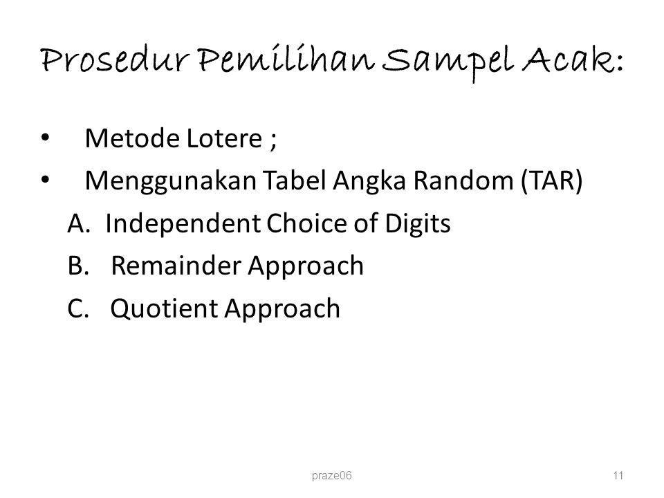 Prosedur Pemilihan Sampel Acak: Metode Lotere ; Menggunakan Tabel Angka Random (TAR) A. Independent Choice of Digits B. Remainder Approach C. Quotient