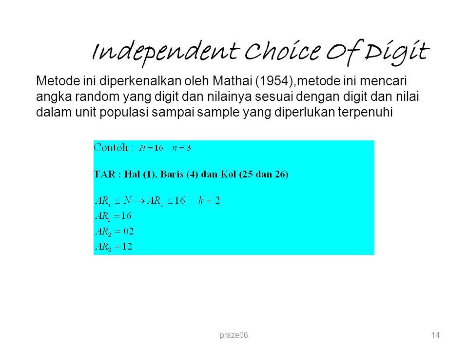 Independent Choice Of Digit praze0614 Metode ini diperkenalkan oleh Mathai (1954),metode ini mencari angka random yang digit dan nilainya sesuai denga