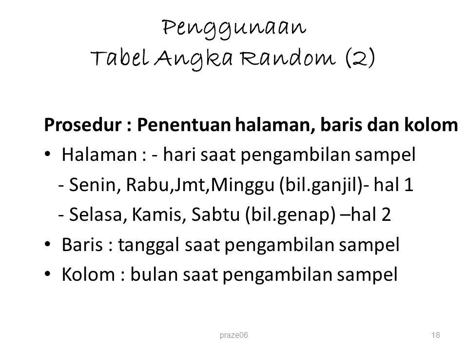 Penggunaan Tabel Angka Random (2) Prosedur : Penentuan halaman, baris dan kolom Halaman : - hari saat pengambilan sampel - Senin, Rabu,Jmt,Minggu (bil