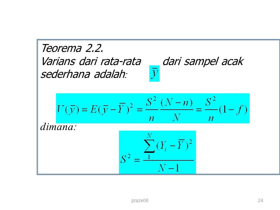 praze0624 Teorema 2.2. Varians dari rata-rata dari sampel acak sederhana adalah : dimana: