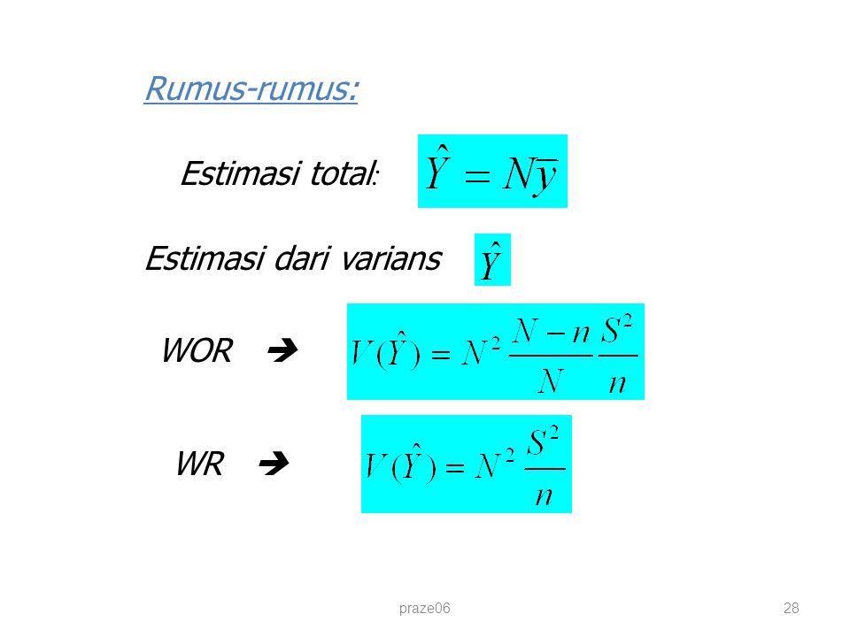 praze0628 Rumus-rumus: Estimasi total : Estimasi dari varians : WOR  WR 