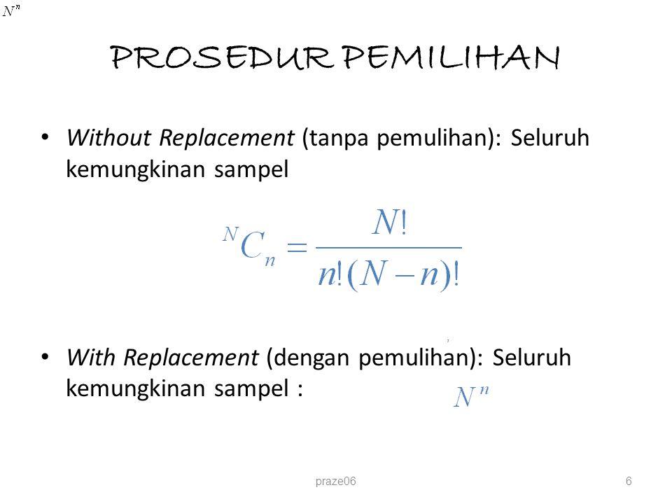 PROSEDUR PEMILIHAN Without Replacement (tanpa pemulihan): Seluruh kemungkinan sampel With Replacement (dengan pemulihan): Seluruh kemungkinan sampel :