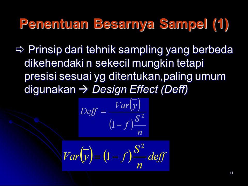 11 Penentuan Besarnya Sampel (1)  Prinsip dari tehnik sampling yang berbeda dikehendaki n sekecil mungkin tetapi presisi sesuai yg ditentukan,paling